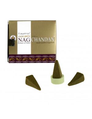 """Encens Naturel """" Golden Nag Chandan """" / 10 Cônes [Vijayshree]"""