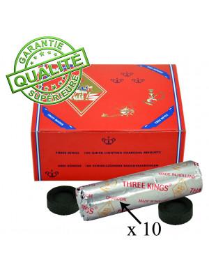 """Boîte de 10 Rouleaux de 10 Galets de Charbon de Bois """" 3 Rois """""""
